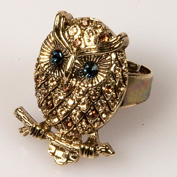 Owl Front Ring - Gold