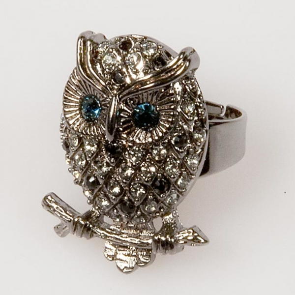 Owl Front Ring - Black