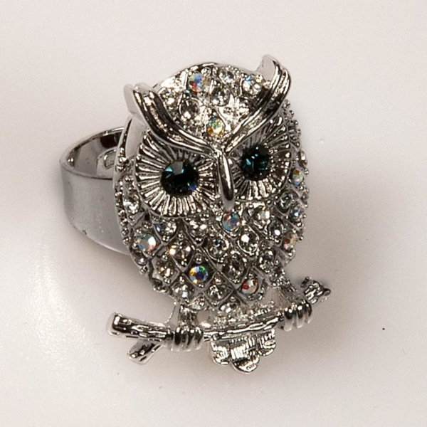 Owl Front Ring - Crystal