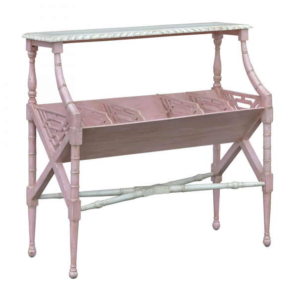 Isabella Magazine Rack - Pink and White