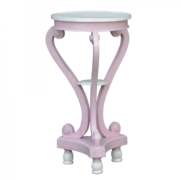 Isabella Side Table - Pink and White