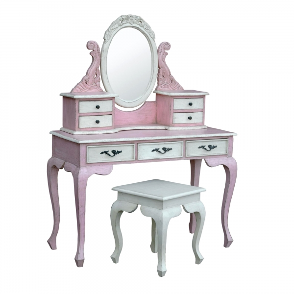 Isabella Dressing Table Set - Pink and White