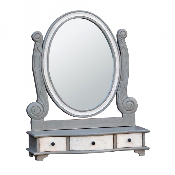 Isabella Dressing Table Mirror - Grey and White