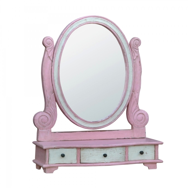 Isabella Dressing Table Mirror - Pink and White
