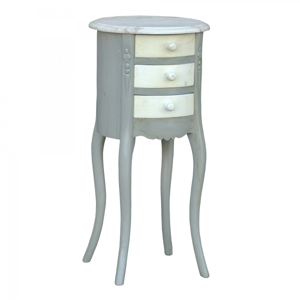 Isabella Bedside Table - Grey and White