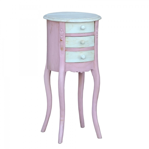 Isabella Bedside Table - Pink and White