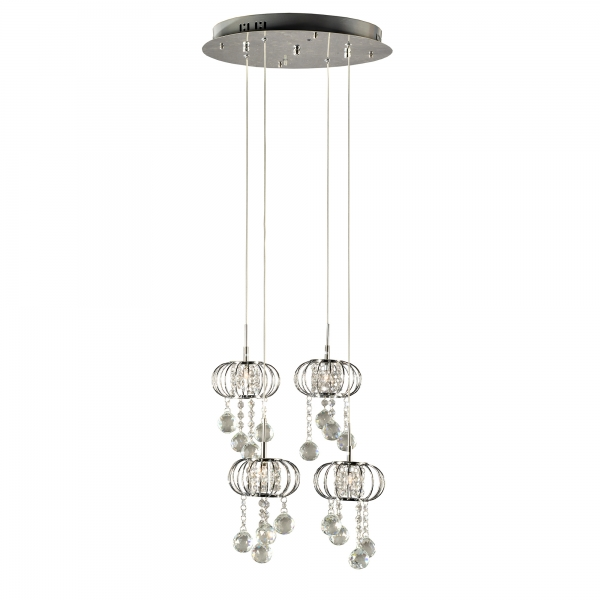 Crystal 4 Light Chandelier - Chrome and Clear