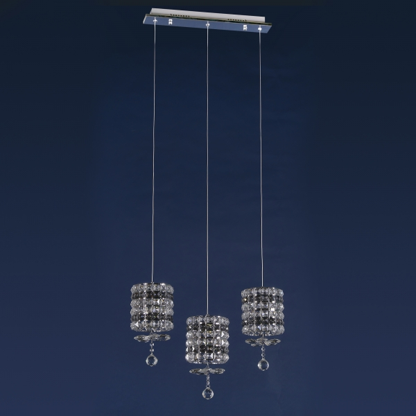 Contemporary Crystal 3 Light Chandelier - Chrome and Blue