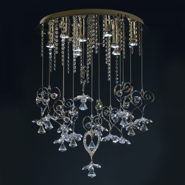 Contemporary Crystal 9 Light Chandelier - Chrome and Blue