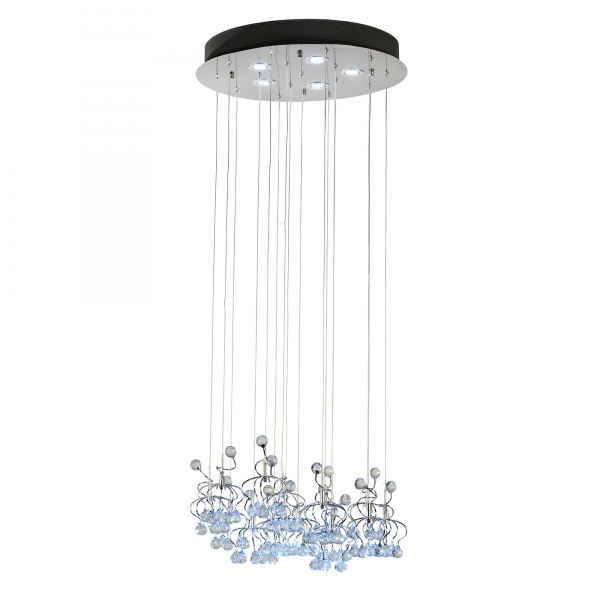 Contemporary 21 Light Chandelier - Chrome and Blue