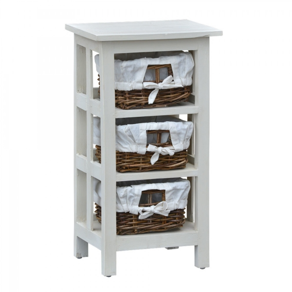 Shelves with Rattan Drawers - White