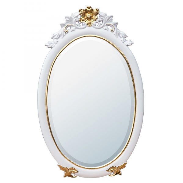 Rococo Style Gloss White & Gold Oval Decorative Wall Bedroom Hall Mirror