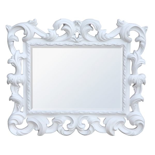 Baroque Antique Style White Overmantle Decorative Wall Bedroom Hall Mirror