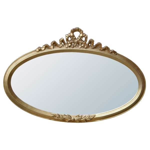 Rococo Ribbon Overmantle Oval Gold Decorative Wall Bedroom Hall Mirror
