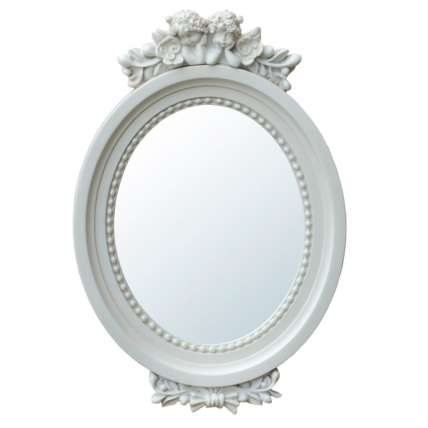 Antique Style Cherub Oval White Floral Decorative Wall Bedroom Hall Mirror