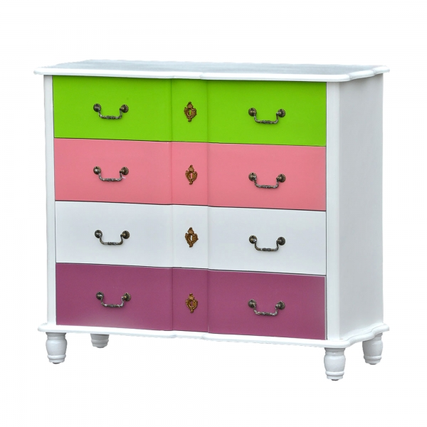 High Gloss Chest of Drawers - White, Green and Pink