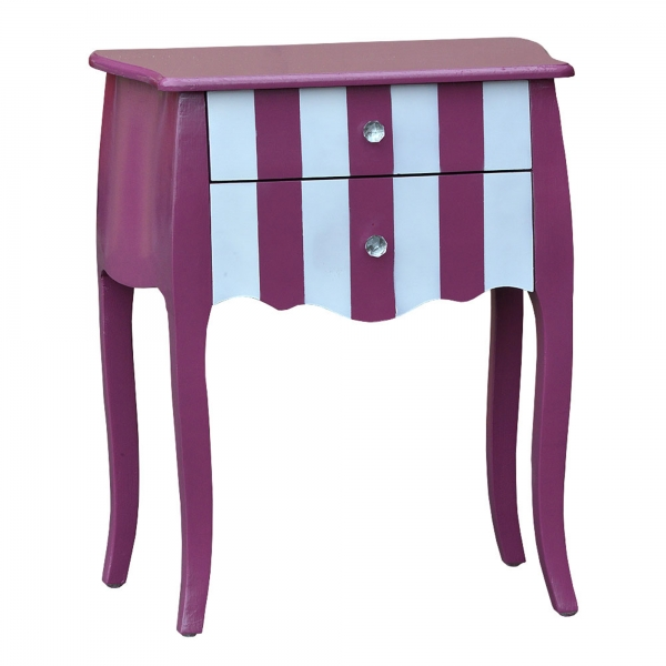 Parallels Bedside Table - Pink and White