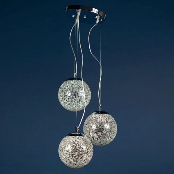Trio Sparkle Globe Ceiling Light - Silver