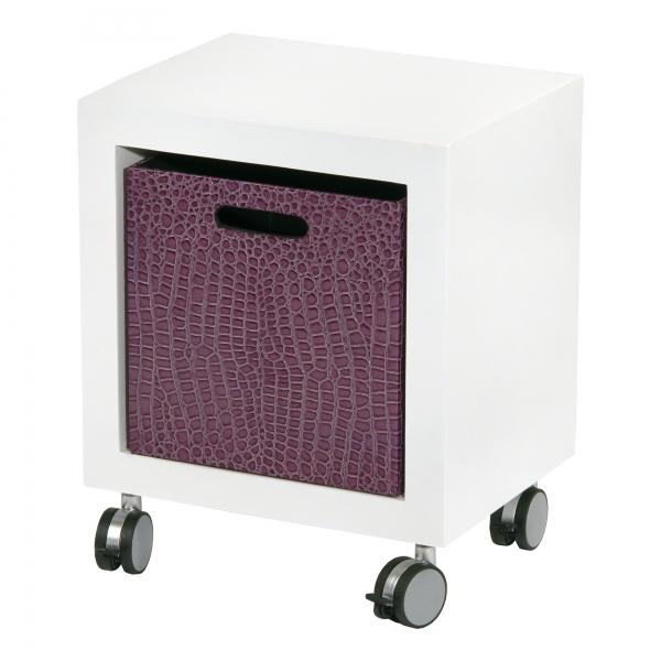 Mock Croc Storage Cube - Aubergine and White