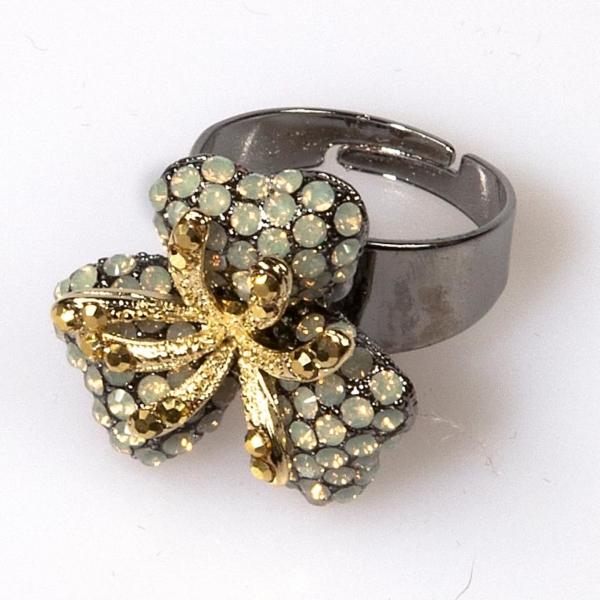 Grey Opal Triple Leaf Flower Ring - Small
