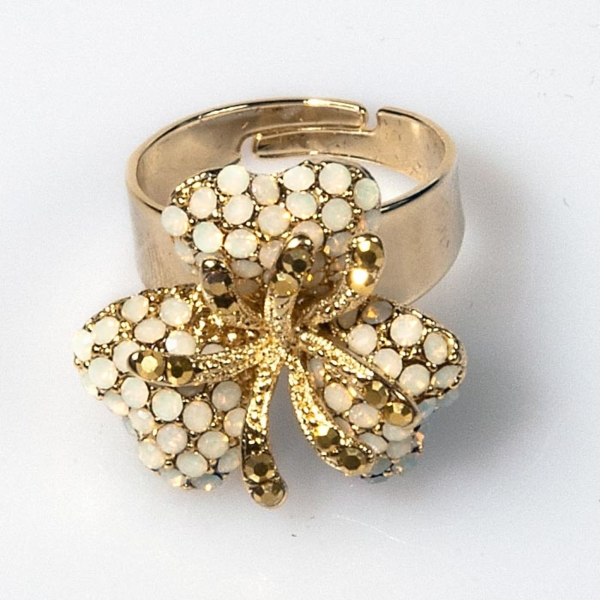 White Opal Triple Leaf Flower Ring - Small