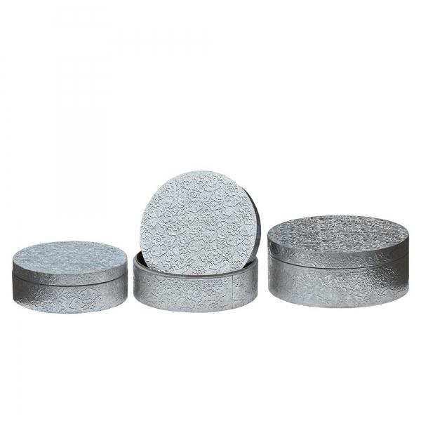 Chaandhi Kar Metal Embossed Hat Boxes - Silver