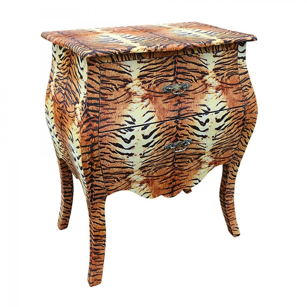 Grand Safari Tiger Bedside Table - Orange