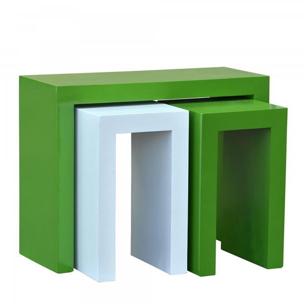 High Gloss Nest of Tables - Green and White