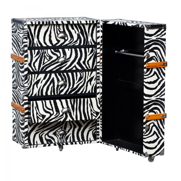 Grand Safari Zebra Luggage Trunk - Black and White