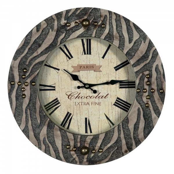 Grand Safari Tiger Clock - Black and Brown