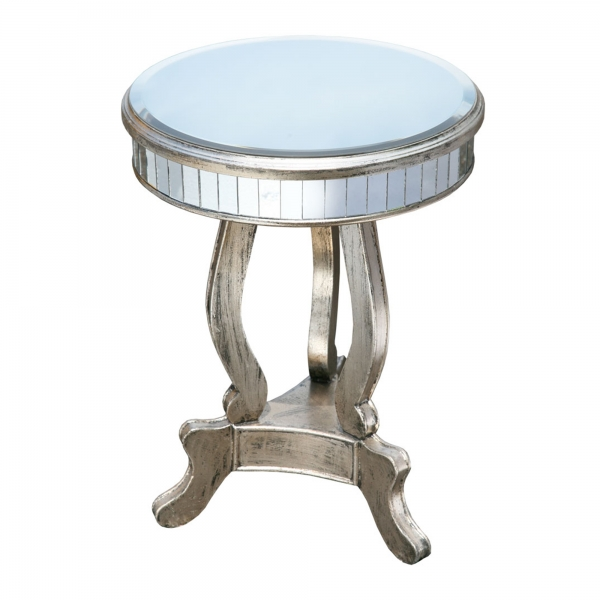 Vintage Venezia Mirrored Side Table - Antique Silver