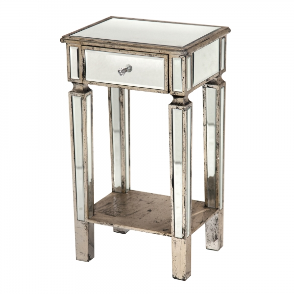 Vintage Venezia Mirrored Bedside Table - Champagne