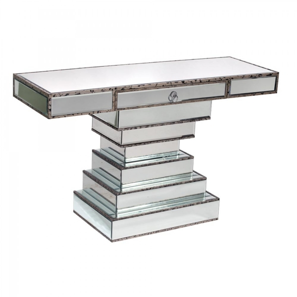 Vintage Venezia Antique Silver Mirrored Style Console Table