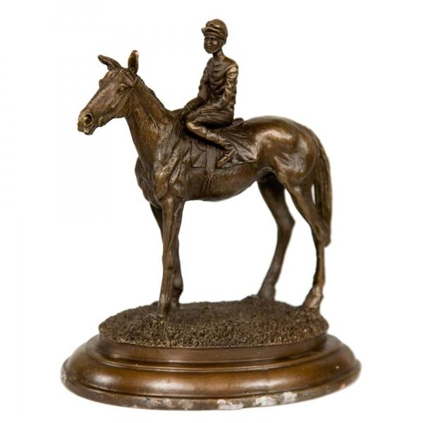 Bronze Horse & Jockey Statue