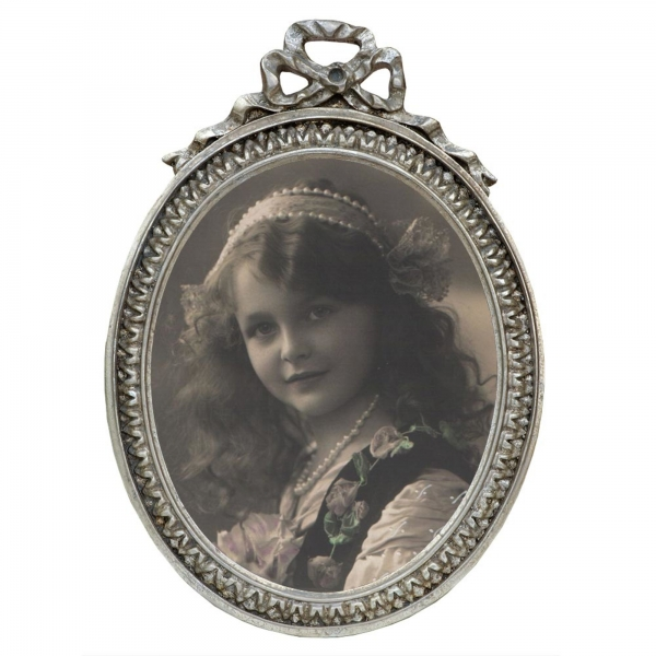 Silver  Gilt Leaf Oval Photo Frame Swags and Ribbons