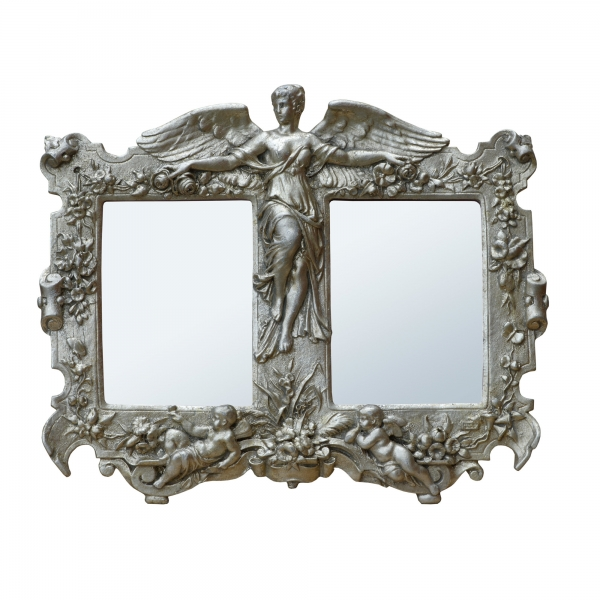 Champagne Silver Gilt Leaf Art Nouveau Double Decorative Table Mirror