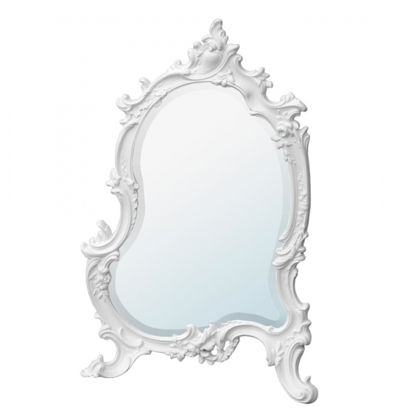 French Rococo Antique Style White Chalk Paint Bevelled Table or Wall Mirror