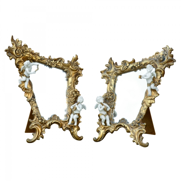Gold Gilt Leaf Beveled Table Mirror with Cherubs - PAIR