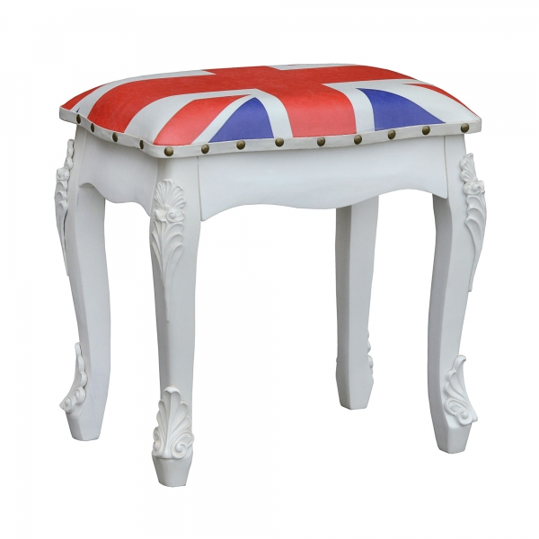 Union Jack Stool - White