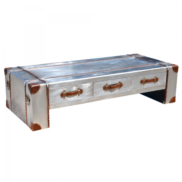 Industrial Aluminium Coffee Table - Silver