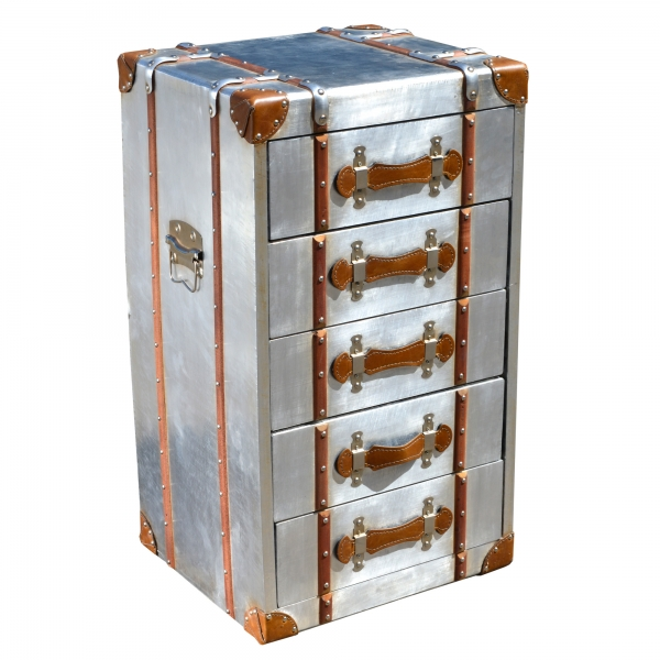 Industrial Aluminium Tallboy Chest of Drawers - Silver