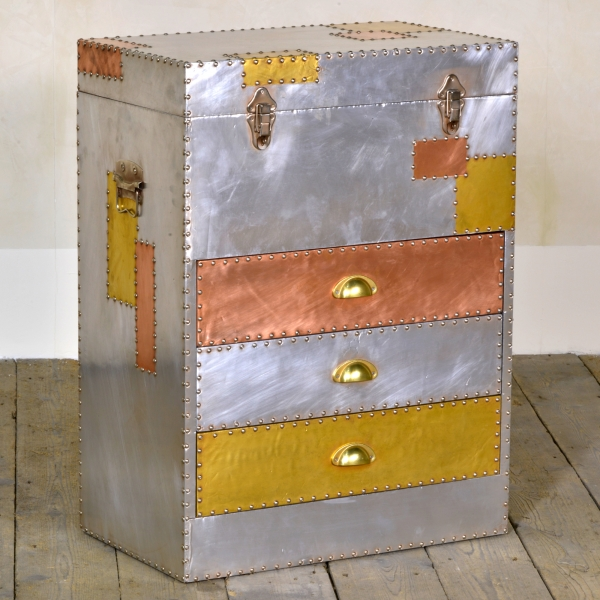 Industrial Aluminium Chest of Drawers - Silver and Copper