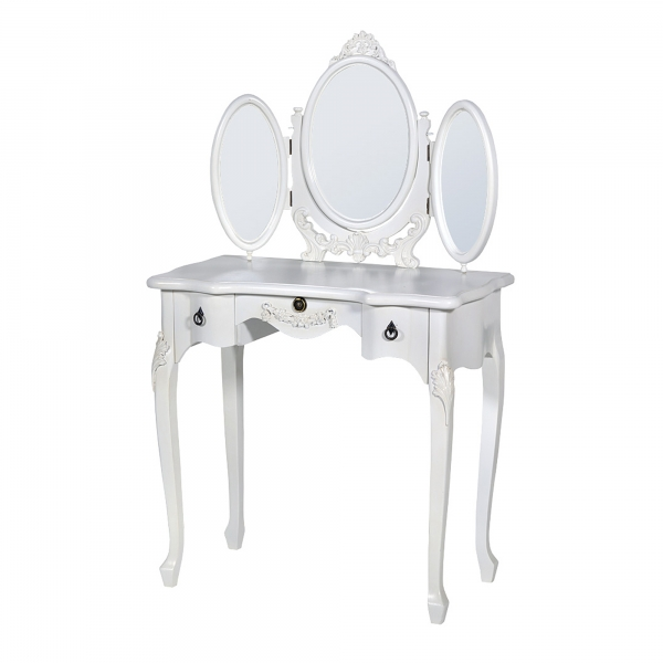 Boudoir Provence Dressing Table with Triple Mirror - Antique White