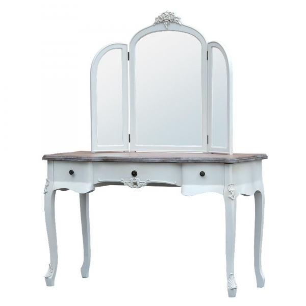 Appleby Dressing Table with Triple Mirror - White