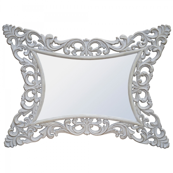 Rococo Style Boudoir Provence Antique White Decorative Wall Bedroom Mirror
