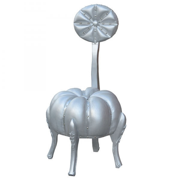 Pumpkin Stool with Back Rest - Silver