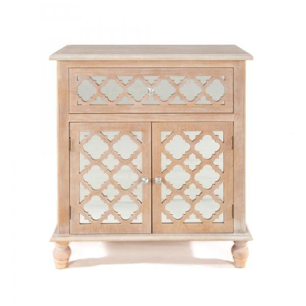 Wood Lattice Mirrored Sideboard Cabinet