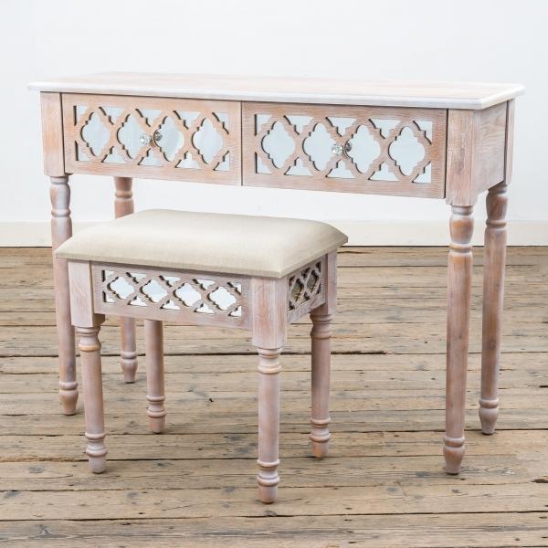 Wood Lattice Mirrored Dressing Table Set