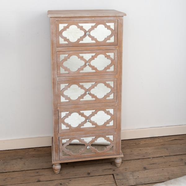 Wood Lattice Mirrored Tallboy Chest of Drawers