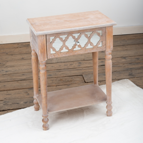 Wood Lattice Mirrored Bedside Table